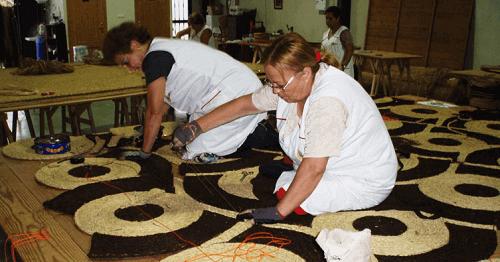 alfombras de mimbre o rafia